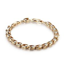 24k Yellow Gold Filled Swarovski Crystal Fashion Lady Party Chain Bracelet 7""
