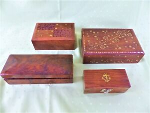 4 kleine Holz-Schatullen Intarsien Schnitzereien Wurzelholz Schmuckkästchen