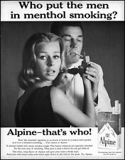 1961 Woman lighting man's Alpine cigarette menthol vintage photo print ad L28