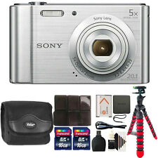 Sony Cyber-shot DSC-W800 Digital Camera (Silver) with 32GB Top Accessory Kit