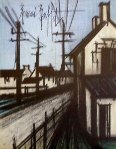 """BERNARD BUFFET  ORIGINAL LITHOGRAPH  """" STREET SCENE """""""