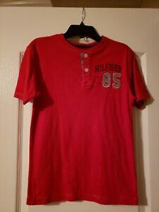 Tommy Hilfiger Boy Red Knit Henley Size S 8/10 EUC