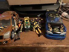 Crash Test Dummies Hot Wheels Brown & Blue Cars & Lawnmower 5 Dummies & Parts