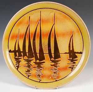 Leslie Elsden Poole Pottery Yellow/Orange Aegean Studio Art Pottery Yacht Plate