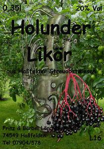 Holunderlikör Hollerlikör 1x 0,35l 20 %.  Literpreis 25,40 Euro