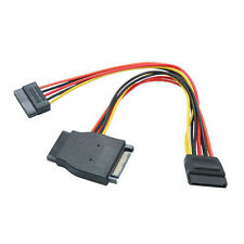"""8"""" SATA Power Splitter 15-pin Female to 3 15-pin Male Cable 8 inch"""