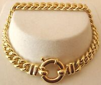 GENUINE 9K 9ct  SOLID Gold CURB Bracelet with BOLT RING CLASP 21cm