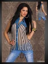 sexy Vokuhila Chiffon Bluse Hemd mit Jeans Stoff schwarz weiß 36 38 40 (745)