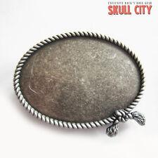 SILVER plated Blank WESTERN ROPE Buckle-Fibbia cintura argento argentati in puro