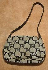 TOMMY HILFIGER Black/Beige Signature TH Print Purse Front Flap Hobo Shoulder Bag