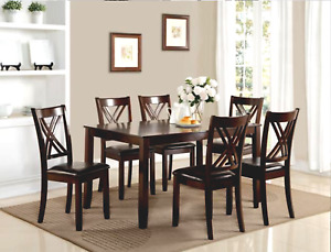"""NEW 7PC Rich Brown Espresso Table 36"""" x 60"""" &6 Chairs Dining Room Transitional"""