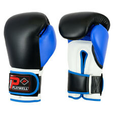 Playwell Leather Pro V2P Boxing Gloves Blue Sparring Kick Muay Thai MMA Bag