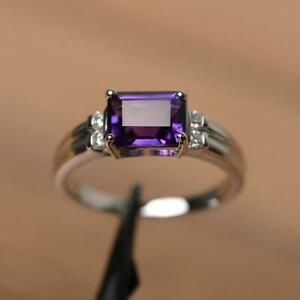 2Ct Emerald Cut Amethyst Womens Solitaire Engagement Ring 14K White Gold Finish