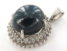 .STUNNING LARGE 14CT WHITE GOLD, DIAMOND & SYNTHETIC SAPPHIRE PENDANT VAL $2800