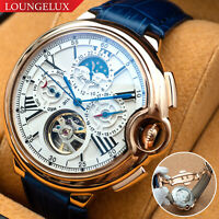 Mens Luxury Bling Automatic Mechanical Watch - Rose Gold White Dial Blue Leather