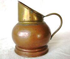 Antique Hand Crafted Copper Brass Dinanderie Veritable Belgium Milk Pitcher