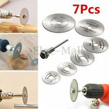 6x HSS Circular Wood Cutting Saw Blade Discs + 1x Mandrel Drill For Rotary Tool