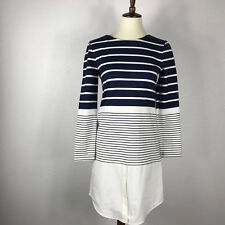 Band of Outsiders Cotton Striped Exposed Back Zip Knit Dress Sz XS