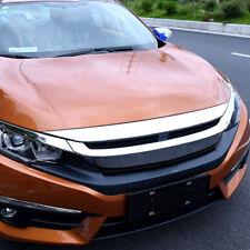 For Honda Civic 2016–2018 Chrome Front Hood Bonnet Bumper Grille Lip Trim Cover