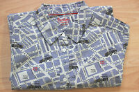 BODEN blue london street map  cotton  shirt   size 18R  NEW