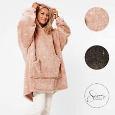 Sienna Glitter Teddy Fleece Hoodie Blanket Womens Oversized Wearable Sweatshirt