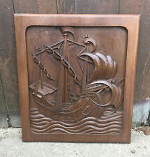Ancienne porte noyer placard sculptée relief bateau galion french antique door