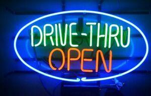 """17""""x14""""Drive Thru Open Neon Sign Light Shop Decor Wall Hanging Handcraft Artwork"""