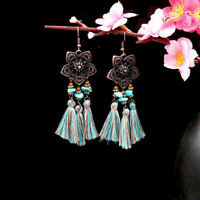 Dangle Earrings Fringe Vintage Long Tassel Women Bohemian Boho Flowers