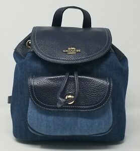 Coach Women's Pennie 22 Denim and Leather Backpack C4122
