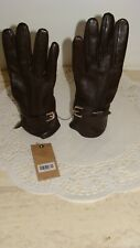 COLE HAAN WOMEN'S BROWN LEATHER CASHMERE LINED GLOVES SIZE LARGE NWT