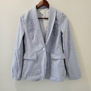 Witchery 8 Blue/White Striped Cotton Blazer Jacket Casual Nautical