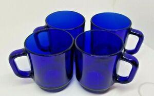 Arcoroc France Simplicity Cobalt Blue Glass Mugs Set Of 4, Coffee Mug Tea Cup