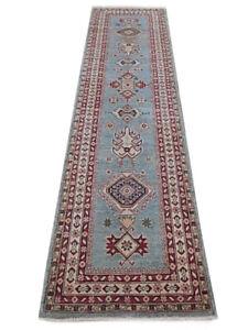 2.5 x 10 Kazak Runner Blue 290 x 81 cm Handmade Wool fiber Foyer Runner Rug