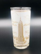 """Vintage Empire State Building Gold Frosted Drink Glass New York City NYC 5 1/2"""""""