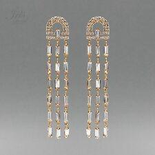 18K Gold Plated GP Clear Crystal Rhinestone Chandelier Drop Dangle Earrings 2695