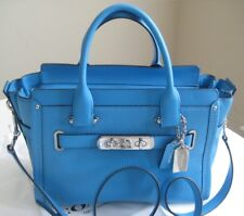 New Coach 34816 Swagger 27 in Azure Blue Leather Handbag Purse Satchel
