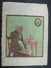 """Original Farbholzschnitt """"Alte Dame beim Kaffee"""" unbekannter Künstler"""