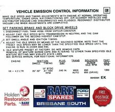 COMMODORE VB AND HOLDEN HZ EMISSIONS DECAL 4.2 ENGINE 8 CYLINDER GTS SLR SANDMAN