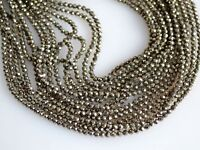 """A++ Finest Pyrite Gemstone 3-4mm Rondelle Faceted Jewelry Making Beads 13"""""""