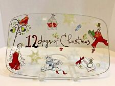 ''12 Days of Christmas'' Cookies/Cake Plate w/ Hand-painted Birds&Women Holiday