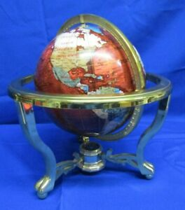 "VINTAGE 14"" HT WORLD GLOBE STONE LIKE GLOBE + COMPASS ON METAL & PLASTIC STAND N"