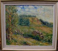 Einer Johansen 1893-1965, Landschaft mit Holzstoss, datiert 1955
