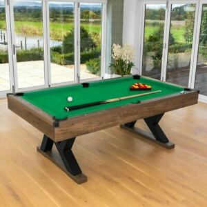 PINPOINT Pool Table | 7FT WOODEN FINISH TABLE + 2x Cues, Balls, Chalk & Triangle