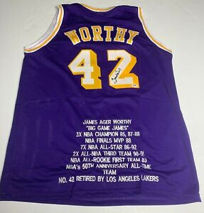 James Worthy Signed Lakers Basketball Jersey PSA 4A36665