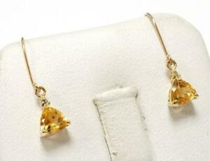 SYJEWELLERY FINE 9CT YELLOW GOLD NATURAL CITRINE & DIAMOND DROP EARRINGS E854