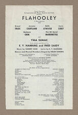"Barbara Cook ""FLAHOOLEY"" Yma Sumac / Bil Baird 1951 FLOP Tryout Broadside"
