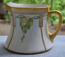 Royal Bavaria Handpainted Lemons Pitcher Heavy Gold Gilded