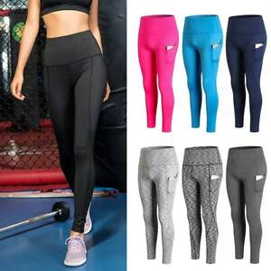 Womens High Waist Leggings Phone Pockets Fitness Sports Running Yoga Pants Gym