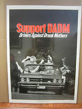Vintage 1990 Support DADM poster Drivers Against Drunk Mothers anti-drunk  3692