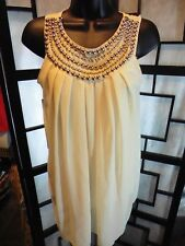 Women's XIAOXI Size M Semi-Sheer Sleeveless Beaded Deco Front Champagne Top